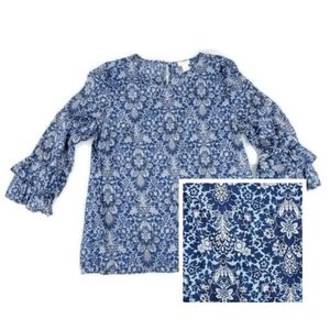 J. Crew Sz 8 Blue Floral Blouse Ruffle Sleeves
